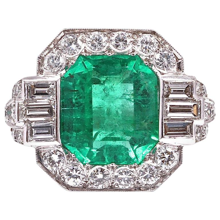 Certified 7.00 Carat Colombian Emerald Diamond Gold Ring