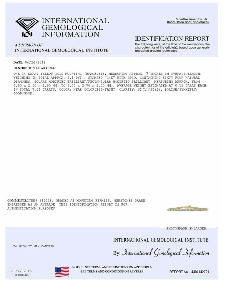 Art Deco Certified 7.04 Carat Princess Cut Diamond Channel Deco Tennis Bracelet 14K Gold For Sale