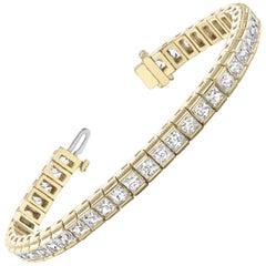 Certified 7.04 Carat Princess Cut Diamond Channel Deco Tennis Bracelet 14K Gold