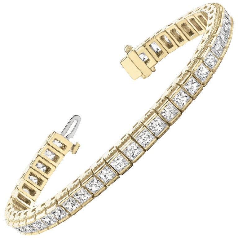 Certified 7.04 Carat Princess Cut Diamond Channel Deco Tennis Bracelet 14K Gold For Sale