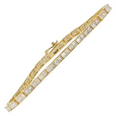 Certified 7.04 Carat Princess Cut Diamond Deco Tennis Bracelet in 14 Karat Gold
