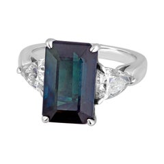 Certified 7.48 Carat No Heat Greenish Blue Step Cut Sapphire Diamond Gold Ring