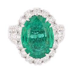 Certified 7.60ct Emerald Nazarelle 14K 2.58ct Diamond Ring
