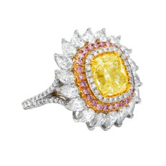 Certified 7.67 Carat Fancy Yellow Diamond Engagement Ring
