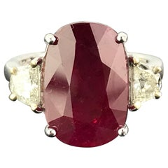 Certified 7.85 Carat Burma Ruby and Diamond Three-Stone Engagement Ring