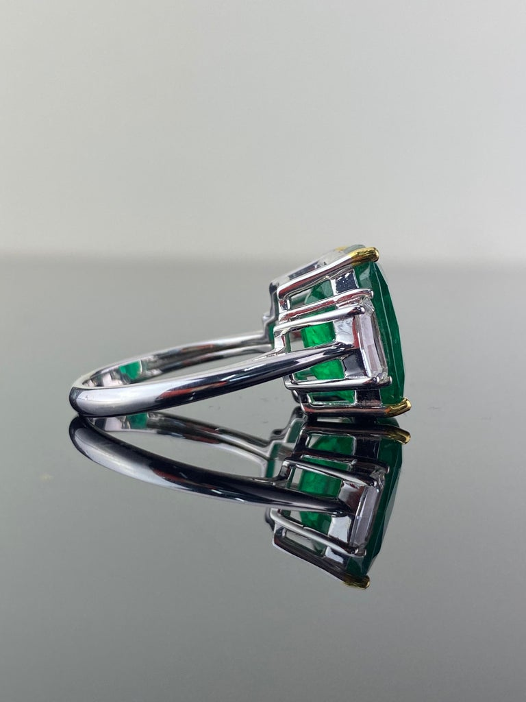 Modern Certified 7.88 Carat Emerald and Diamond Three-Stone Engagement Ring For Sale