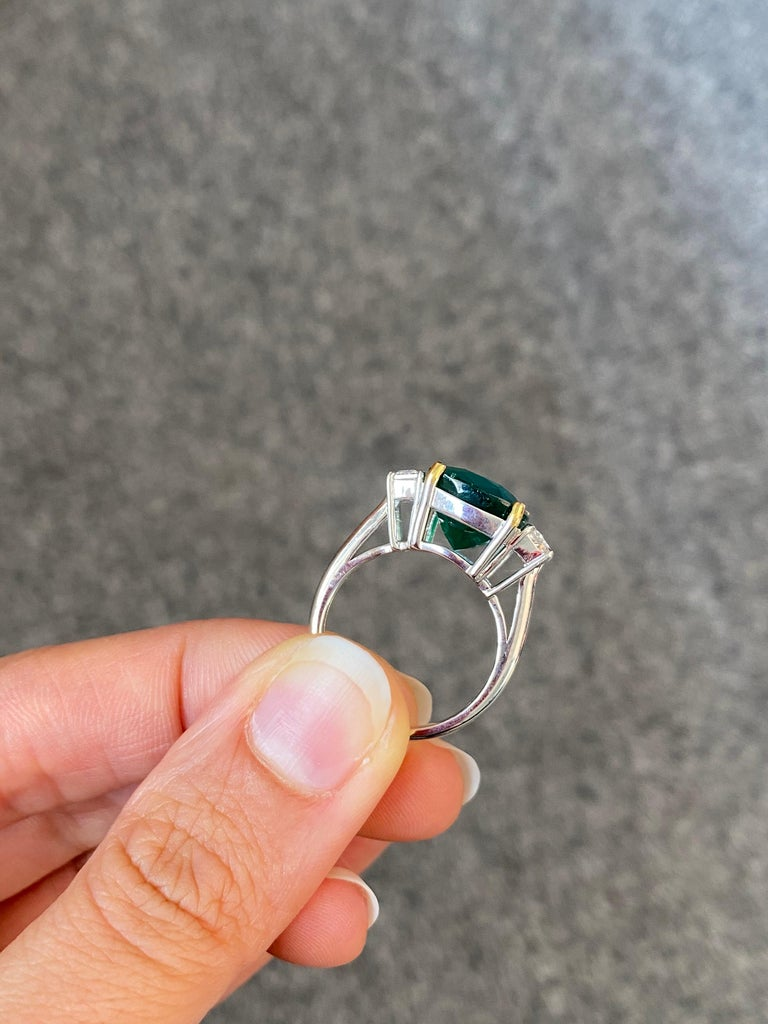 Cushion Cut Certified 7.88 Carat Emerald and Diamond Three-Stone Engagement Ring For Sale