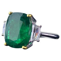 Certified 7.88 Carat Emerald and Diamond Three-Stone Engagement Ring