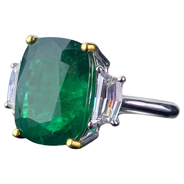 Certified 7.88 Carat Emerald and Diamond Three-Stone Engagement Ring For Sale