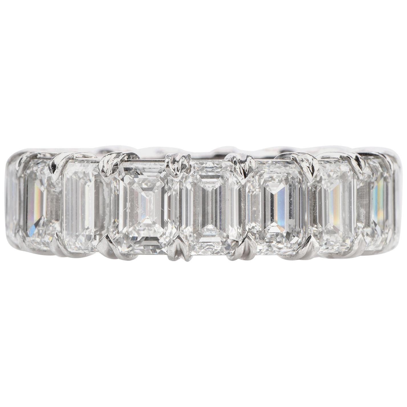 Certified 8.02 Carat Emerald Cut Diamond Platinum Eternity Band Ring