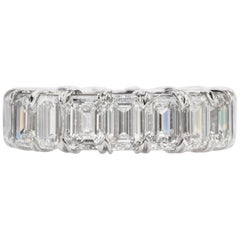 Certified 8.02 Carat Emerald Cut Diamond Platinum Eternity Band Ring