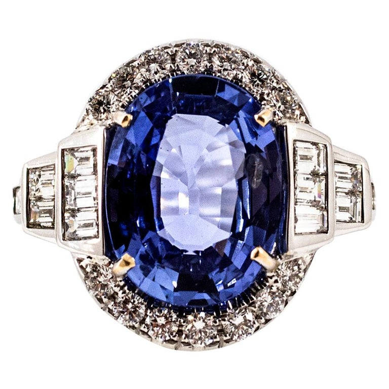 d874f59fa Certified 8.08 Carat Blue Sapphire 1.50 Carat Diamond White Gold Cocktail  Ring For Sale