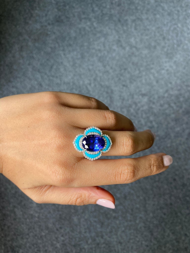 Art Deco Certified 8.16 Carat Tanzanite and Turquoise Cocktail Ring For Sale