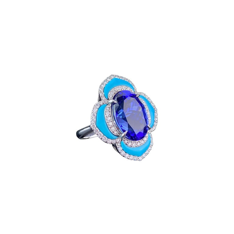 Certified 8.16 Carat Tanzanite and Turquoise Cocktail Ring For Sale