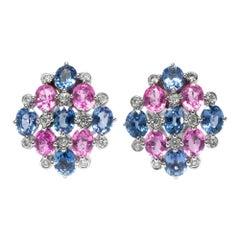 Certified 8.3 Carat Pink Blue Sapphire Diamond White Gold Ear Studs, London 2004