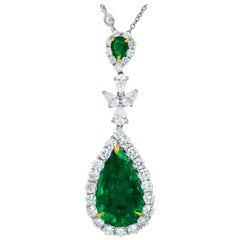 Certified 8.58 Carat Green Emerald Pendant