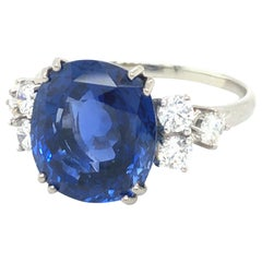 Certified 9.32 Carat Burma No Heat Sapphire and Diamond Ring by Gübelin