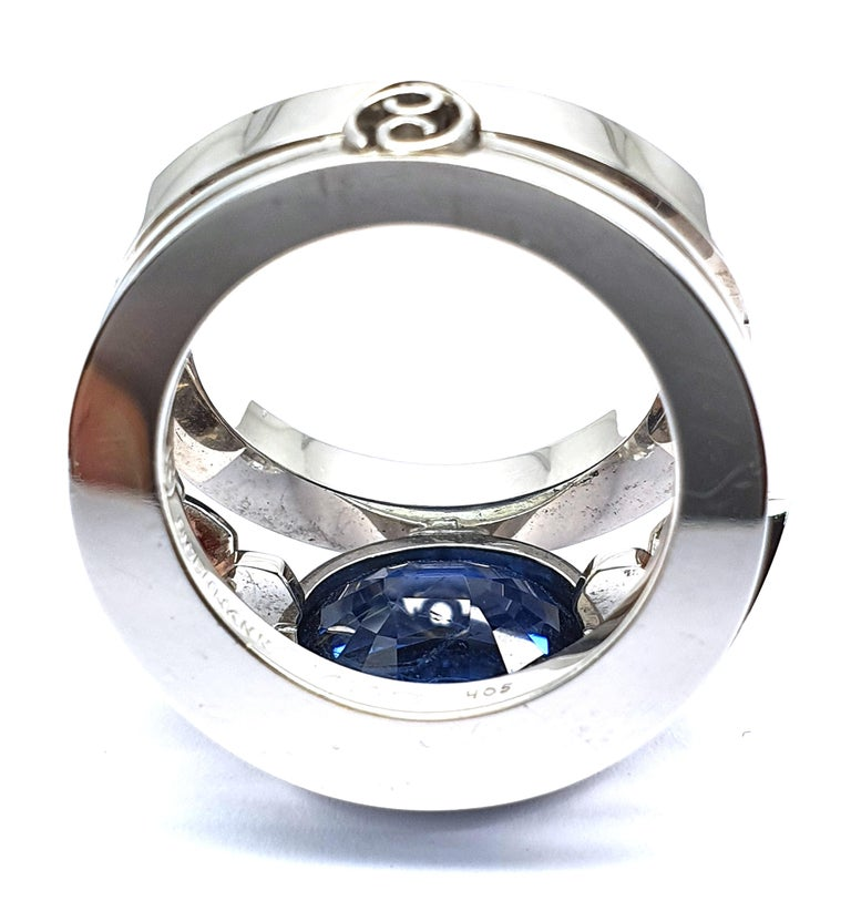 Certified 9.45 Carat Intense Blue Sapphire 2 Orange Corunds and 56 Diamonds Ring For Sale 1