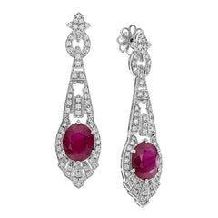 Certified 9.53 Carat Burmese Ruby Diamond Drop Earrings