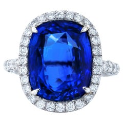Certified 9.55 Carat Royal Blue Sapphire Diamond Ring