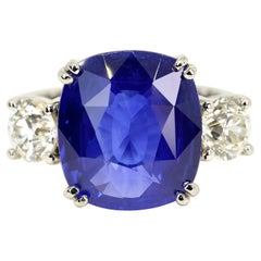 Certified 9.67 Carats Ceylon Sapphire Three Stone Ring