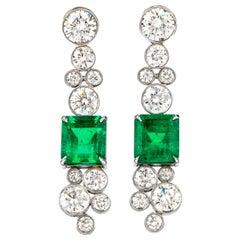 Certified 9.69 Carat Colombian Emerald Diamond 18 Karat Drop Earrings