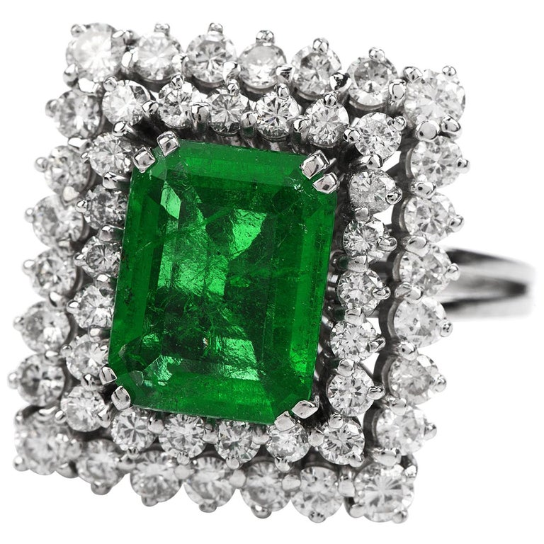 Certified AGL 2.48 Carat Colombian Emerald Diamond Platinum Cocktail Ring For Sale