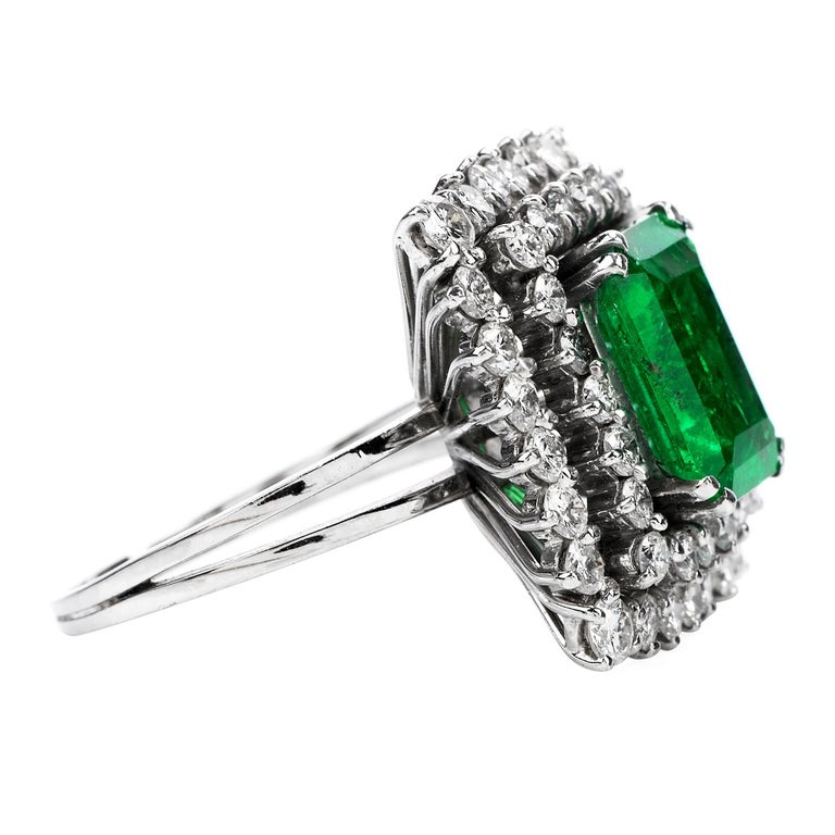 Art Deco Certified AGL 2.48 Carat Colombian Emerald Diamond Platinum Cocktail Ring For Sale
