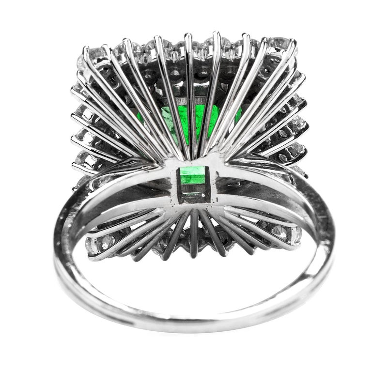 Emerald Cut Certified AGL 2.48 Carat Colombian Emerald Diamond Platinum Cocktail Ring For Sale