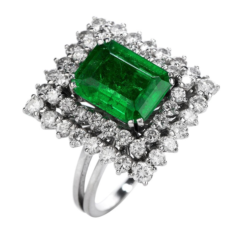 Certified AGL 2.48 Carat Colombian Emerald Diamond Platinum Cocktail Ring In Excellent Condition For Sale In Miami, FL