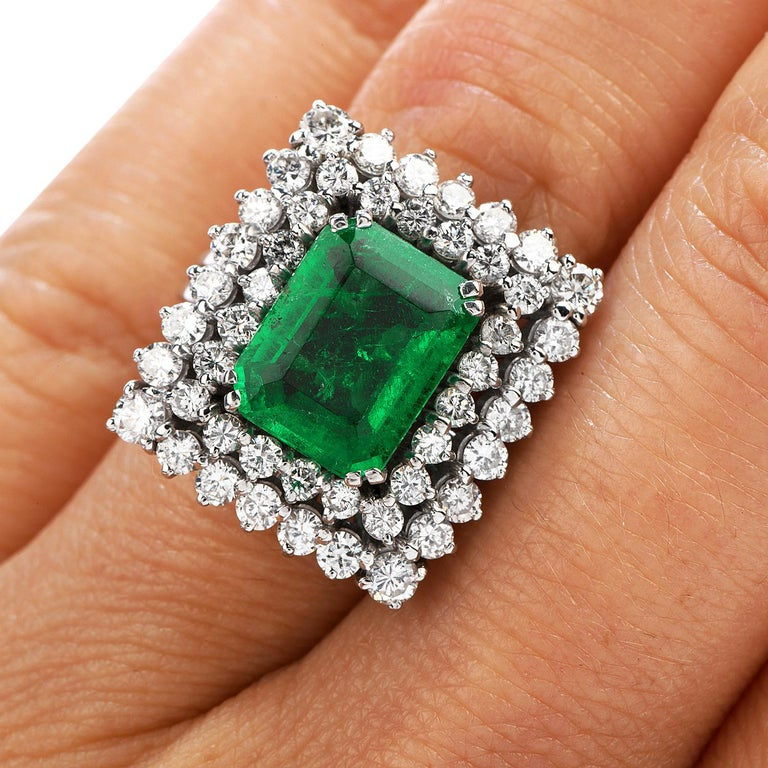 Women's or Men's Certified AGL 2.48 Carat Colombian Emerald Diamond Platinum Cocktail Ring For Sale