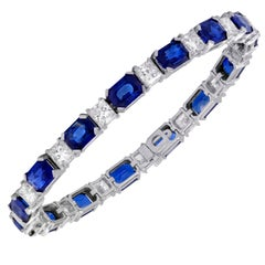 Certified and Natural Royal Blue Sapphire and Diamond Bracelet