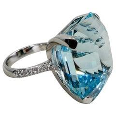 Certified Asscher Cut Aquamarine 55.73 Carat and Diamond Statement Cocktail Ring