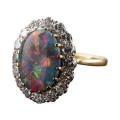 Certified Australian Black Opal Ring with Diamonds English, Midcentury