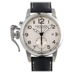 Certified Authentic and Warranty, Graham Chronofighter 4626, Silver Dial