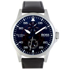 Certified Authentic and Warranty, Hugo Boss Aviator 299, Millimetres Black Dial