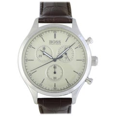 Certified Authentic and Warranty, Hugo Boss Companion359, Millimeters Beige Dial