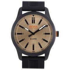 Certified Authentic and Warranty, Hugo Boss Dublin179, Millimeters Gold Dial