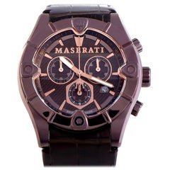 Certified Authentic and Warranty, Maserati Meccanica360, Millimeters Brown Dial