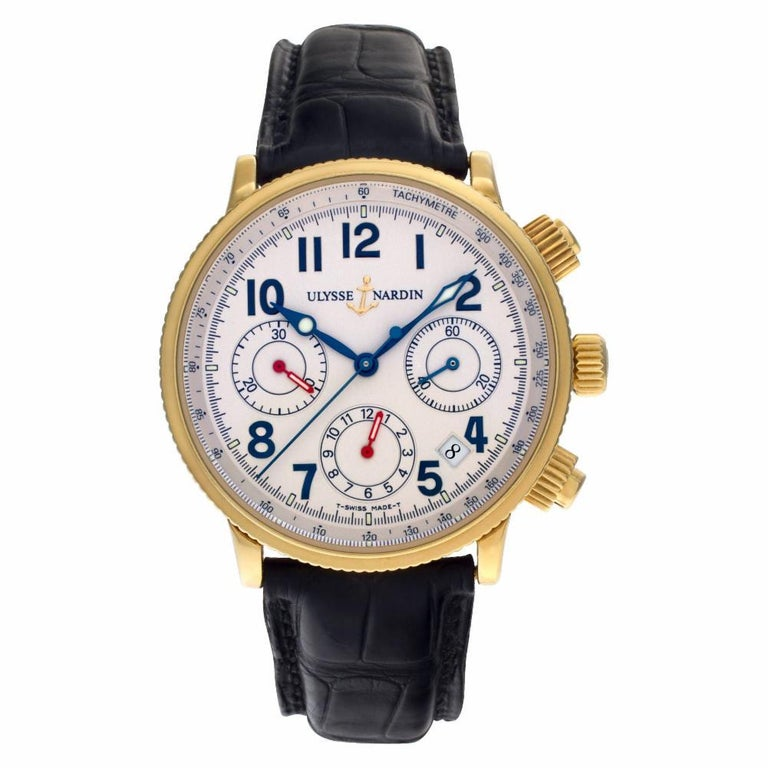 Ulysse Nardin Marine Reference #:351-22. Ulysse Nardin Marine Chronometer in 18k on leather strap. Auto w/ subseconds, date and chronograph. With box, papers, and booklets. Ref 351-22. Circa 2010s. Fine Pre-owned Ulysse Nardin Watch. Certified