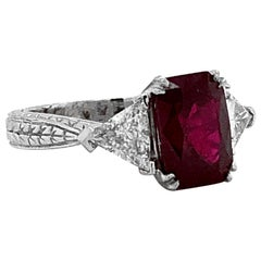 Certified Burmese Cushion Ruby 3.60 Carat Diamonds Platinum Ring