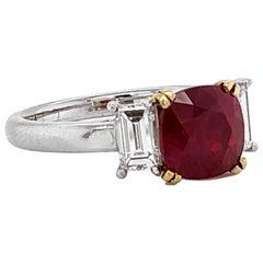 Certified Burmese Ruby 2.48 Carat Baguette Diamonds Platinum Ring
