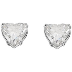 Certified Big Diamond Heart 2.25 & 2.54Ct Solitaire, Single Stone Stud Earrings