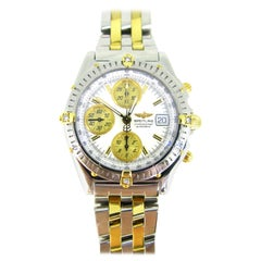 Certified Breitling Chronomat B13050 Yellow Gold Stainless Steel Diamonds Watch