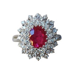 Certified Burma Red Ruby and White Diamond 18 Carat White Gold Cocktail Ring