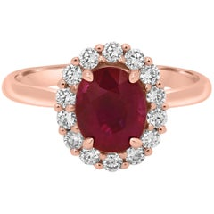 Certified Burma Ruby Oval 2.03 Carat Diamond Halo Gold Bridal Cocktail Ring