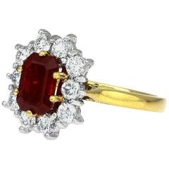 Certified Burmese 'Myanmar' Ruby & Diamond Cluster Ring in Bimetal 18 Karat Gold