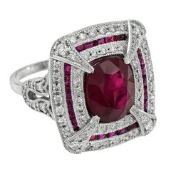 Certified Burmese Ruby 3.90 Carat Diamond Cocktail Ring