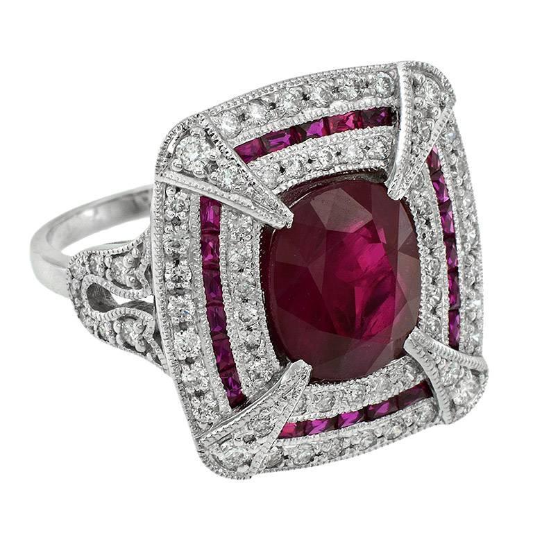 Certified Burmese Ruby 3.90 Carat Diamond Cocktail Ring
