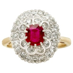 Certified Burmese Ruby and Diamond, Yellow Gold Cluster Ring